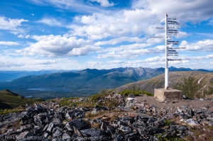 Signpost on a mountain top near Keno, Yukon